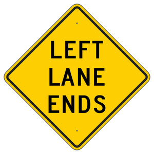 W9-1L-Y Left Lane Ends Yellow Sign
