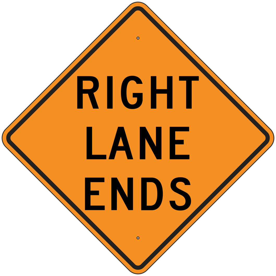 W9-1R-O Right Lane Ends Orange Sign