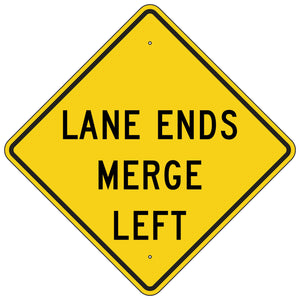 W9-2L-Y Lane Ends Merge Left Yellow Sign