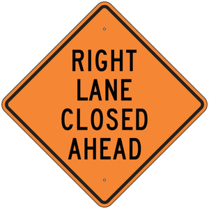 W9-3R Right Lane Closed Ahead Sign