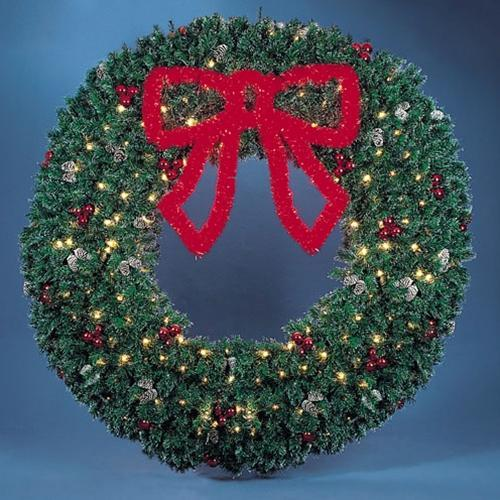 10' Garland Wreath with 3' Red Garland Bow