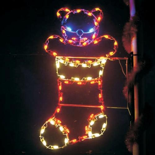 4' Silhouette Bear in Stocking