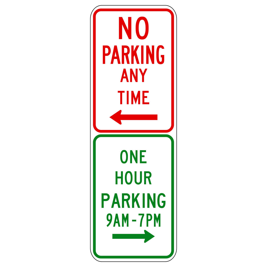 No Parking/One Hour Parking (Combined Sign)
