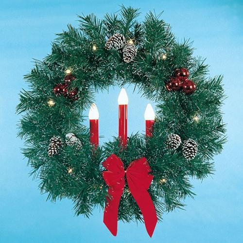3' Garland Wreath with 3 Red Candles