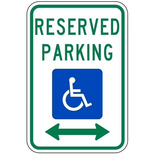 Reserved Parking with Handicap Symbol & Double Arrow Sign