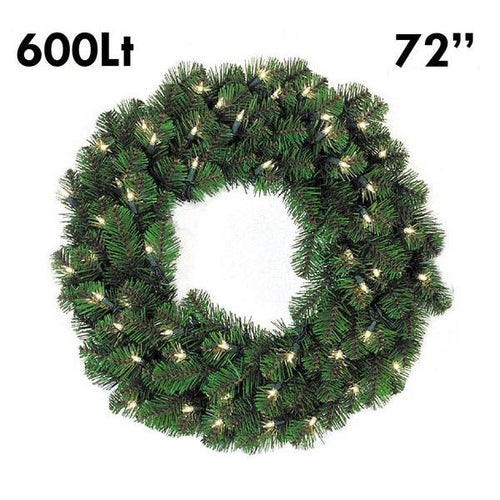 Pine Lit Christmas Wreath - 72