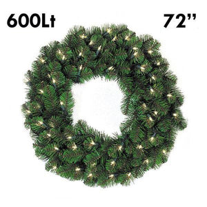 "72"" Pine Lit Christmas Wreath, 600Lt 