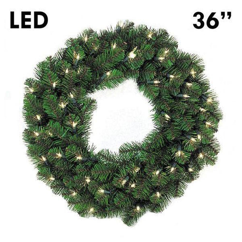 LED Pine Lit Christmas Wreath - 36