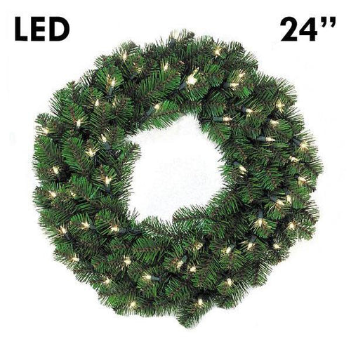 LED Pine Lit Christmas Wreath - 24