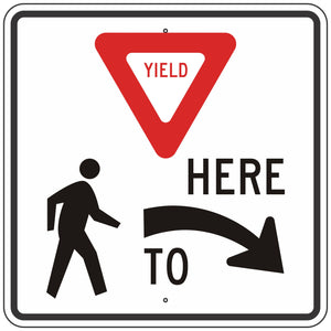 R1-5R Yield Here to Pedestrians Sign