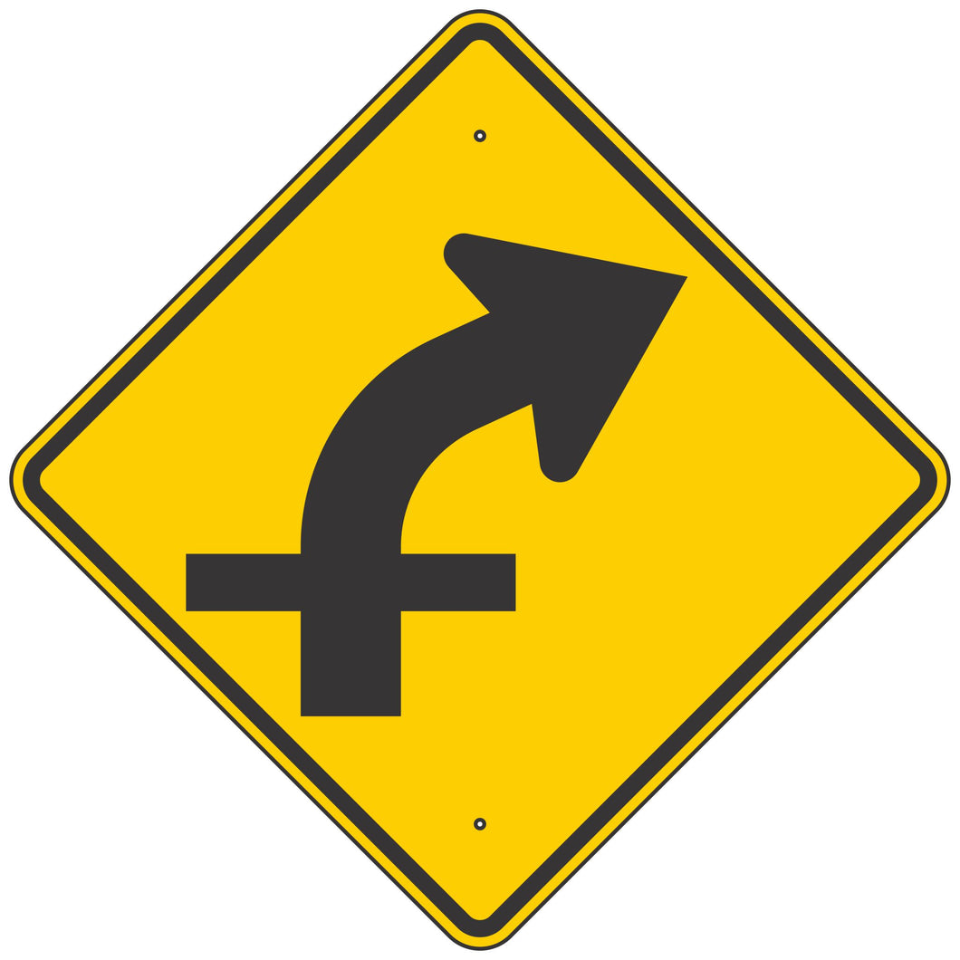 W1-10AR Curve Right Arrow & Crossroad Sign