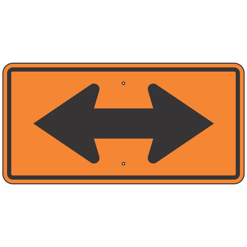 W1-7 Two-Direction Large Orange Arrow Sign