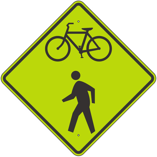 W11-15 Bicycle & Pedestrian Crossing FYG Sign