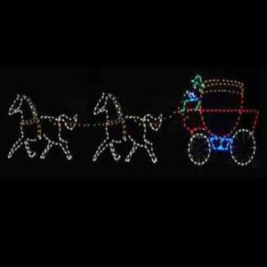 6' Two Horses with Carriage Yard Decoration