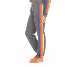Aviator Nation Neon Rainbow 5 Stripe Sweatpants
