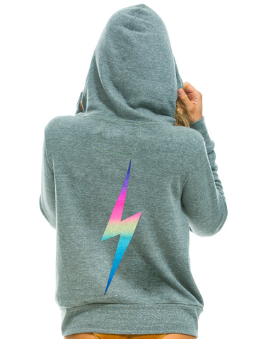 Aviator Nation Pink Bolt Hoodie Heather Grey