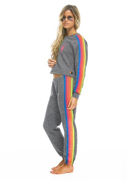 Aviator Nation Bolt Neon Rainbow Crop Sweatshirt