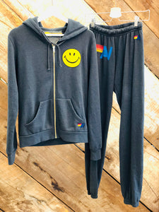 Aviator Nation Vintage Smiley Hoodie - Charcoal