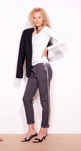 Sundry Rollup Trouser Charcoal with Silver
