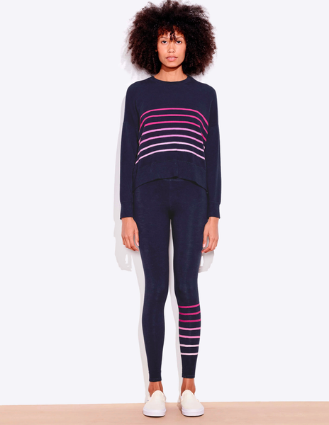 Sundry Stripes Oversized Sweatshirt Navy