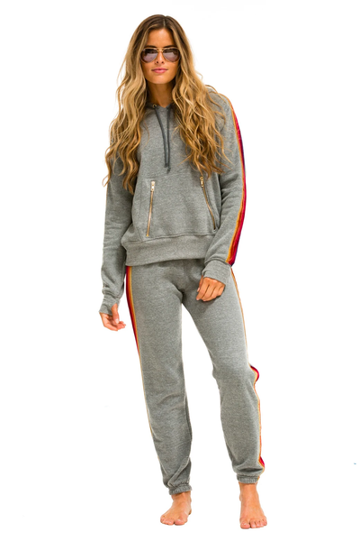 Aviator Nation Classic Sweatpants Velvet Stripes Heather Grey