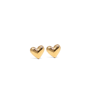 Heart Stud Earrings Solid 14K Gold
