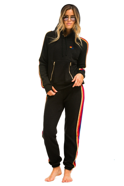 Aviator Nation Classic Sweatpants Velvet Stripes Black