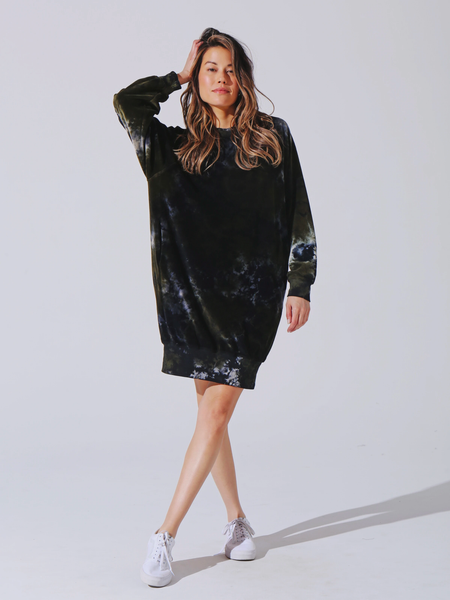 Electric & Rose Avion Velour Dress Eden/Onyx/Cloud