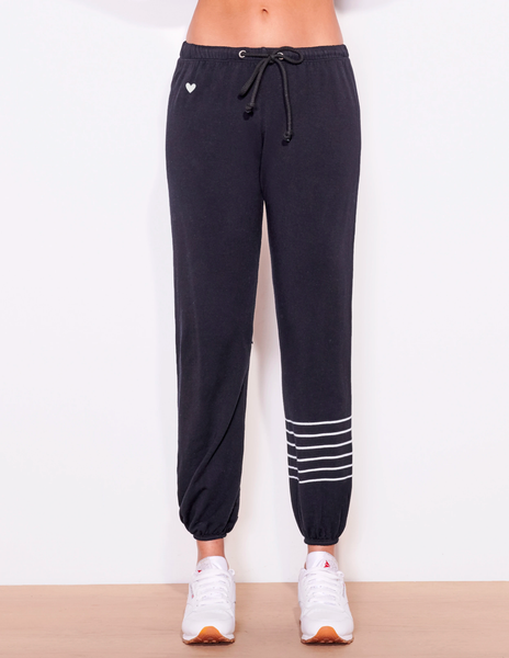 Sundry Stripes and Heart Sweatpant Black
