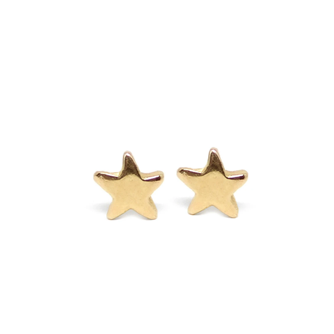 Star Stud Earrings Solid 14K Gold