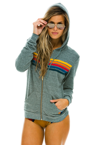 Aviator Nation 5 Stripe Hoodie - Heather Grey