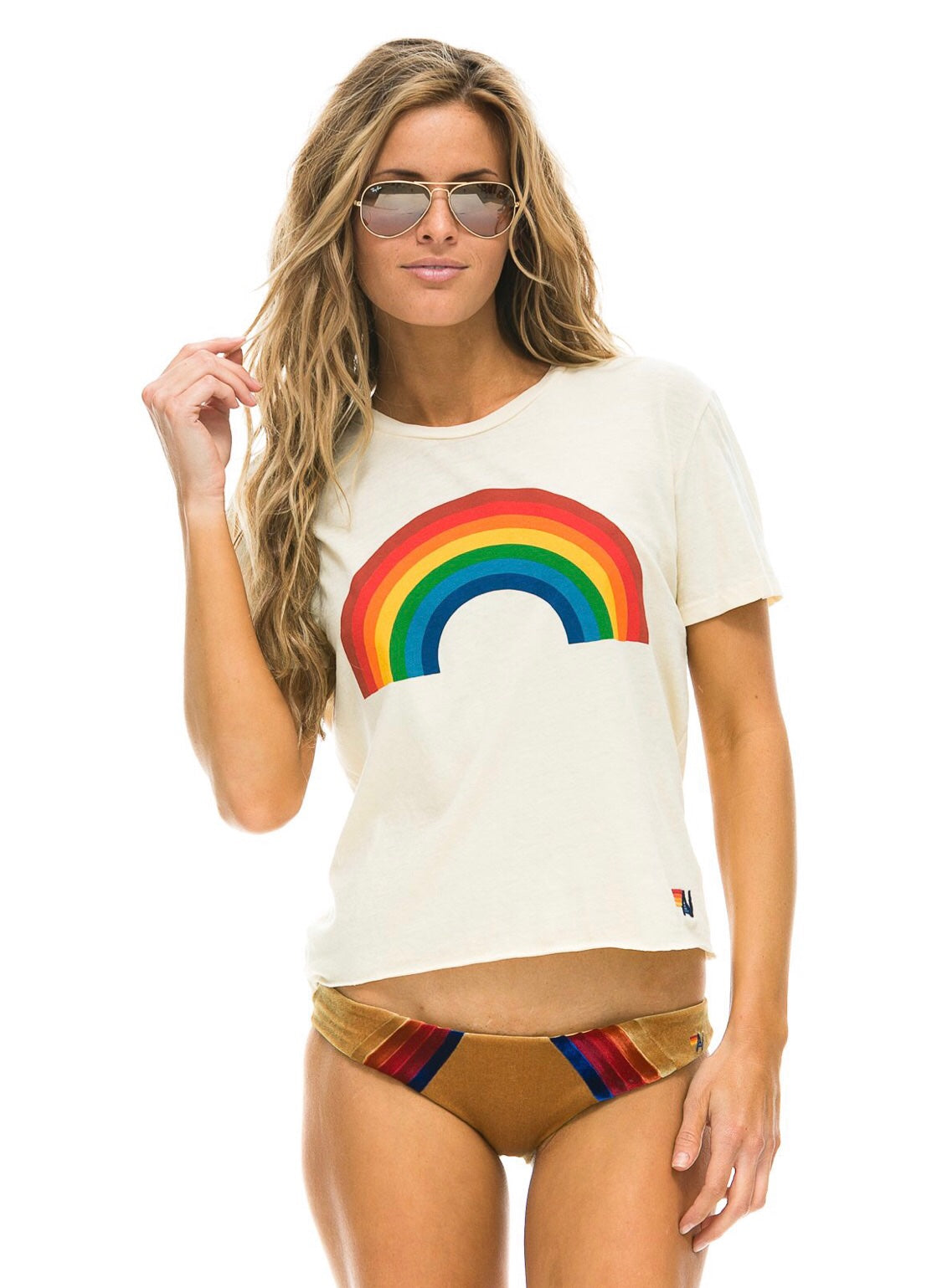 Aviator Nation Boyfriend Tee Rainbow Vintage White
