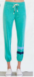 Sundry Basic Sweatpant in Teal with Multi Stripe
