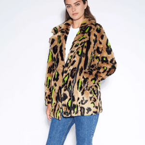Apparis Chloe Neon Leopard Coat