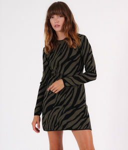 Pam & Gela Long Sleeve Knit Zebra Dress