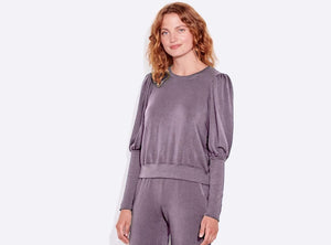 Sundry Puff Sleeve Sweatshirt Gray
