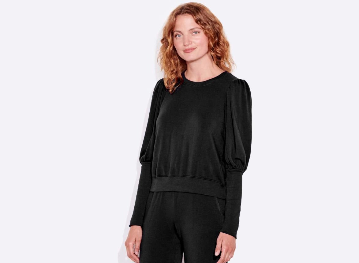 Sundry Puff Sleeve Sweatshirt Black