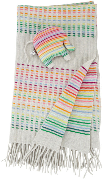 Dove Grey Rainbow Rib Baby Blanket Set