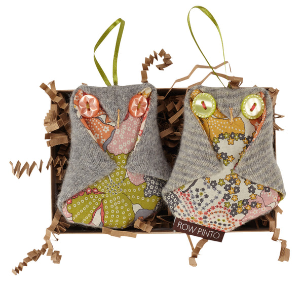 Boxed Pair of Lavender Baby Owls