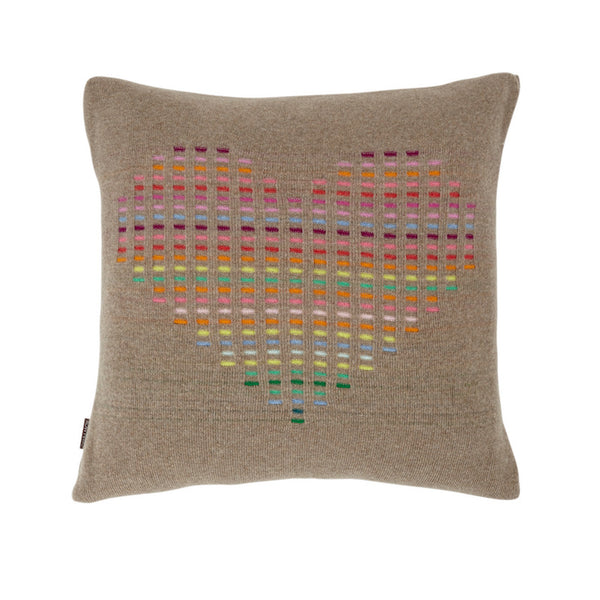 Rainbow Cushion Dark Natural Heart