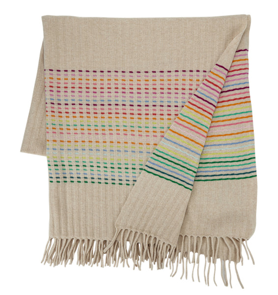 Rainbow Throw Oatmeal Rib Stripe