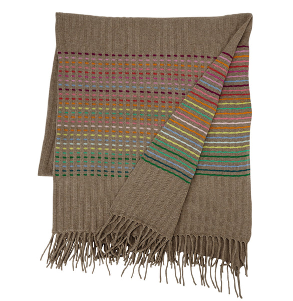 Rainbow Throw Dark Natural Rib Stripe