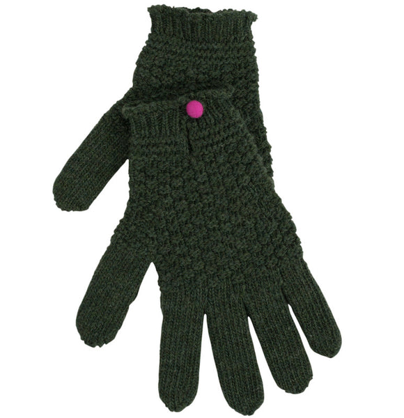 Dark Green Driving Glove With Contrast Button