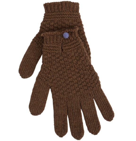 Hazelnut Driving Glove With Contrast Button