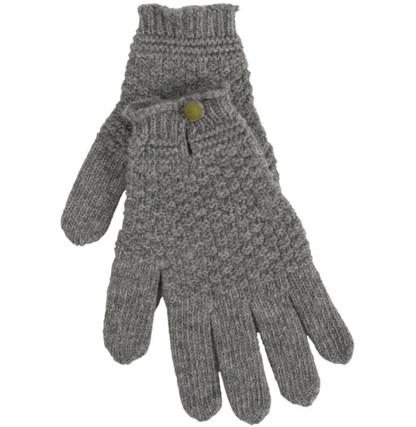 Flannel Grey Driving Glove With Contrast Button
