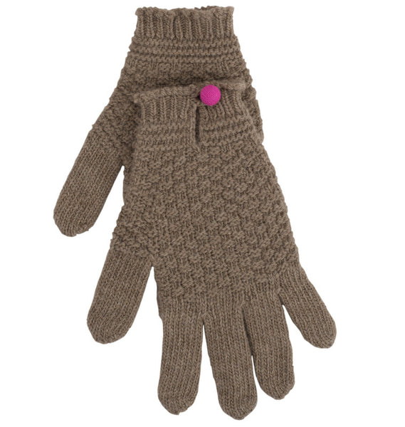 Dark Natural Driving Glove With Contrast Button
