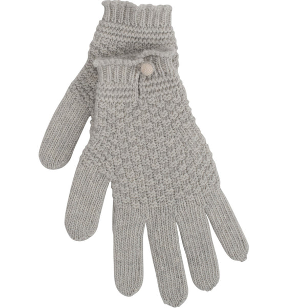 Dove Grey Driving Glove With Contrast Button