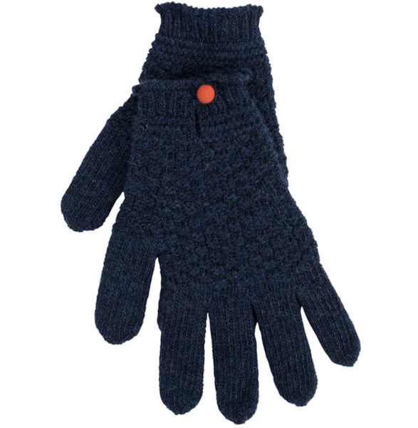 Navy Driving Glove With Contrast Button