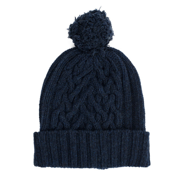 Navy Chunky Cable Bobble Hat