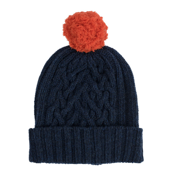 Navy Chunky Cable & Lamp Orange Bobble Hat